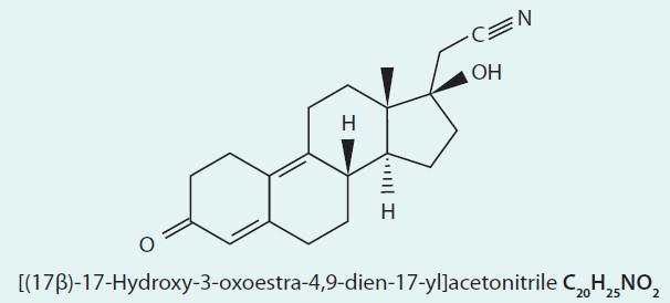 Chemický vzorec dienogestu