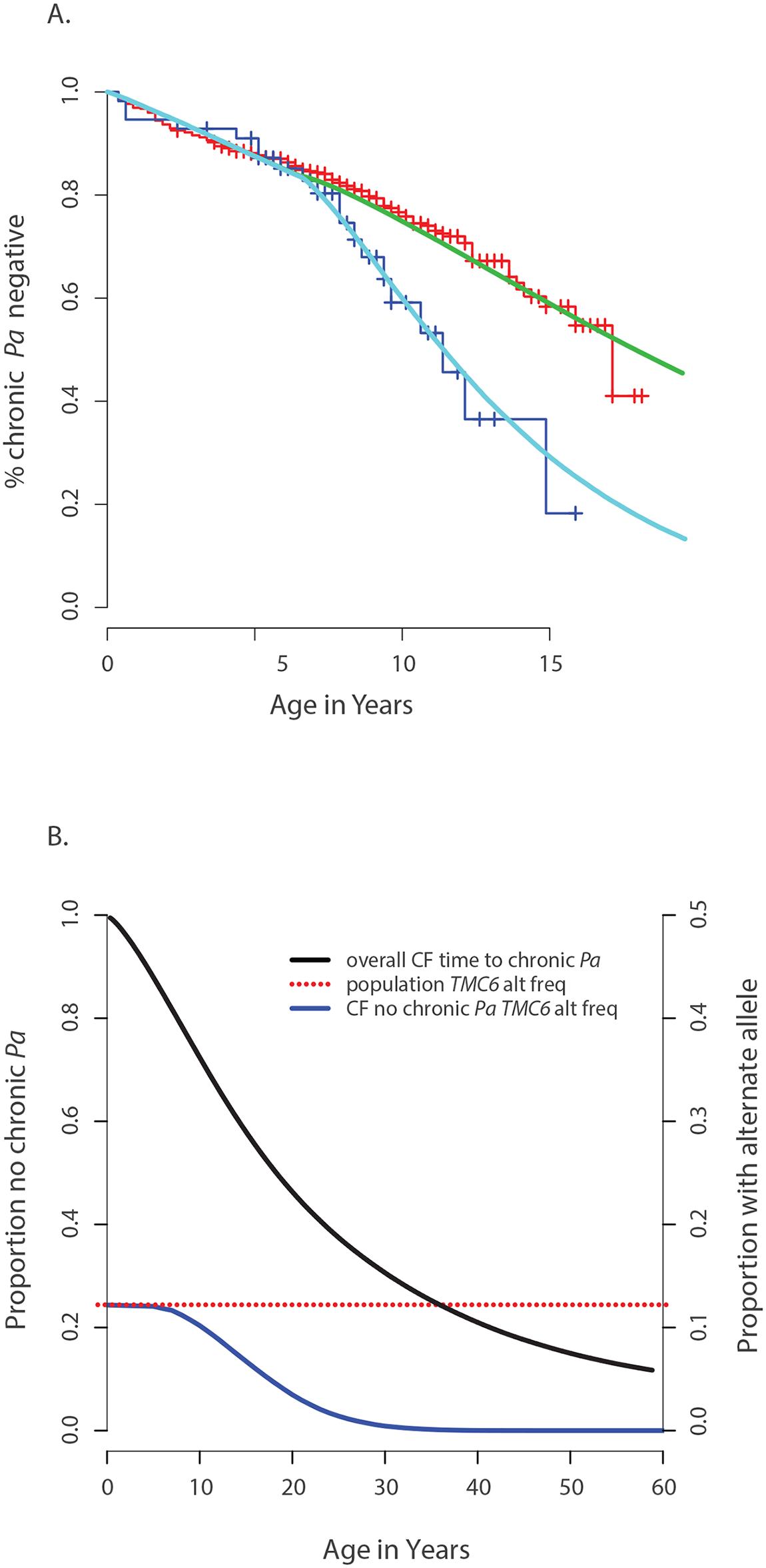 Genetic architecture of age-of-onset of chronic <i>P</i>. <i>aeruginosa</i> infection and TMC6 rs34712518.
