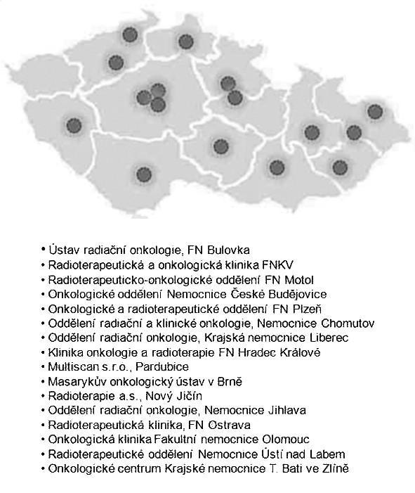 Mapa a seznam pracovišť v ČR disponujících IMRT v roce 2010