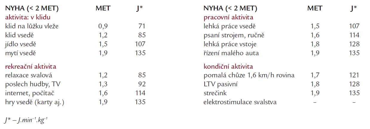 Druhy fyzické zátěže a jejich energetická náročnost skupiny NYHA IV (vybráno a upraveno podle [21–23]).