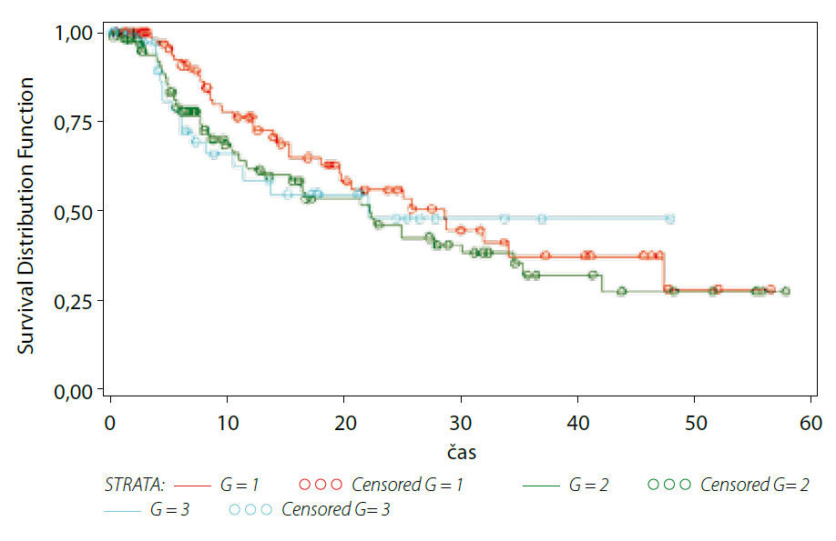 Přežívání do recidivy – buněčná diferenciace Graph 2. Recurrence free survival – tumour grade