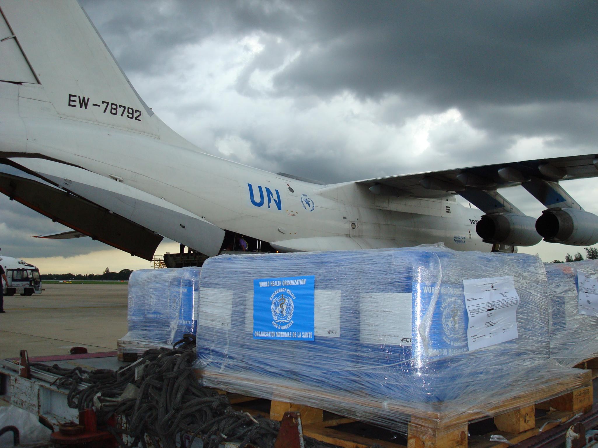 Cyclone Nargis response 2008: Interagency Emergency Health Kits en route to Myanmar.