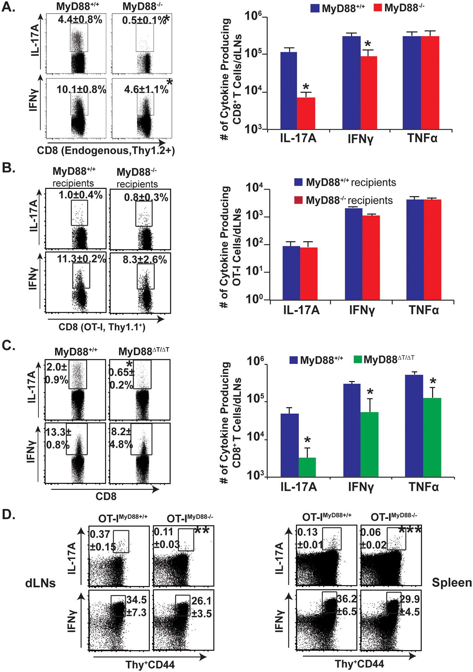 Intrinsic MyD88 signaling regulates Tc17 cell responses.