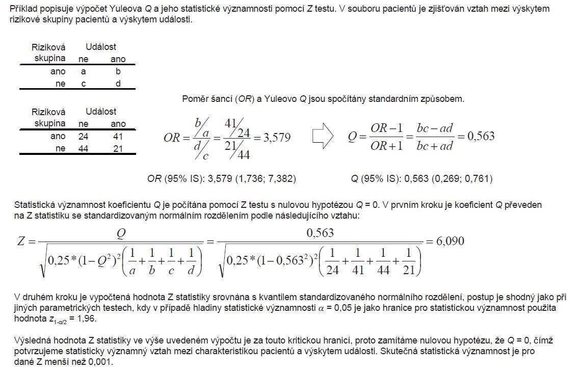 Příklad 3. Hodnocení statistické významnosti Yuleova <i>Q</i>.