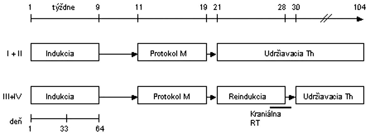Protokol NHL BFM 95 – I. terapeutická skupina.  <strong>Indukcia:</strong> prednizón, vinkristín, daunorubicin, l-asparagináza, cyklofosfamid, cytarabín, 6-merkaptopurín, metotrexát i.th. <strong>Protokol M:</strong> 6-merkaptopurín, metotrexát 5 g/m<sup>2</sup> v 24-hodinovej infúzii + leukovorín, metotrexát i. th. <strong>Protokol II:</strong> dexametazón, vinkristín, doxorubicín, l-asparagináza, cyklofosfamid, cytarabín, 6-tioguanín, metotrexát i. th. <strong>RT</strong> - rádioterapia