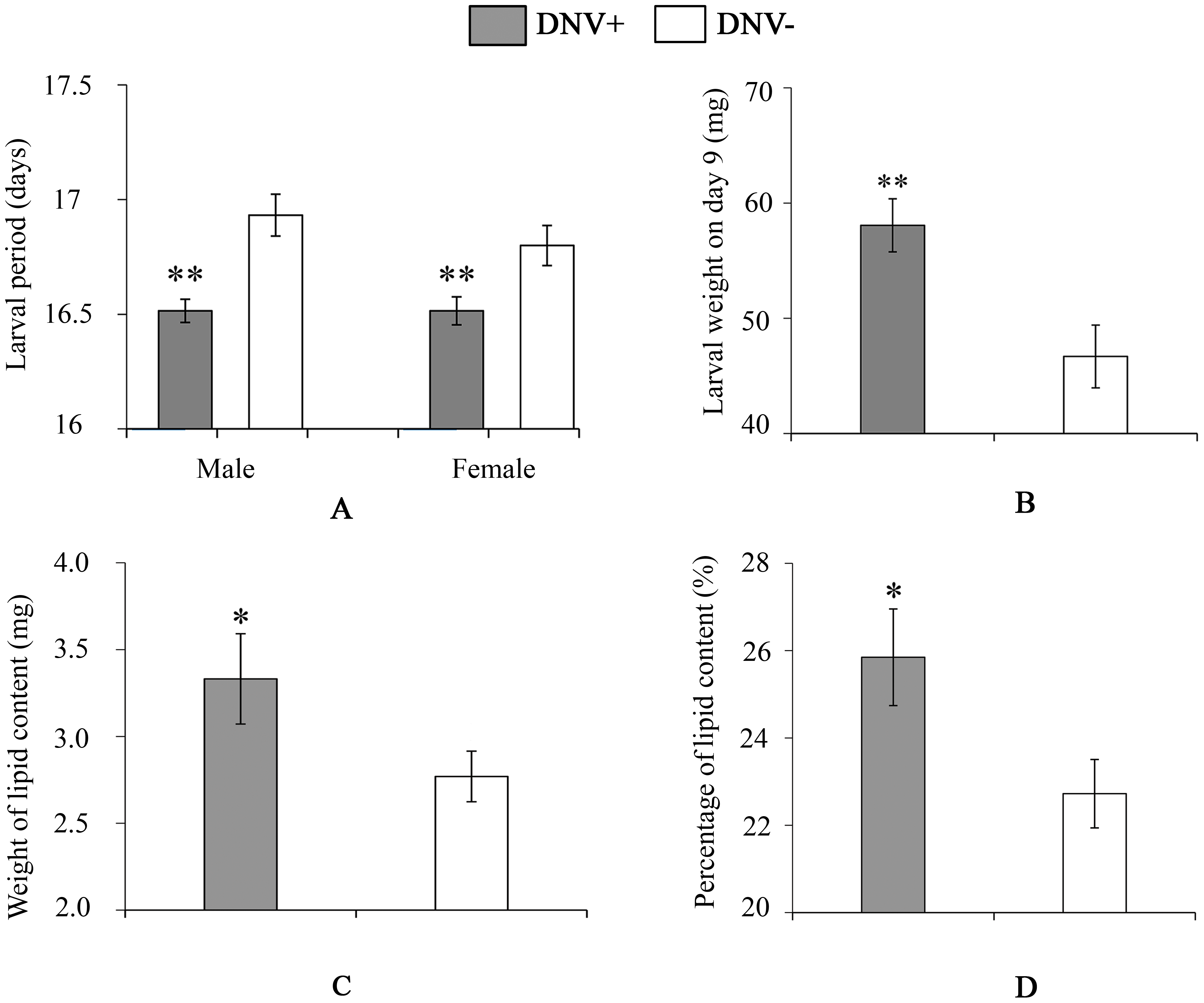 Larval life-history parameters of DNV- and DNV+ cotton bollworms.