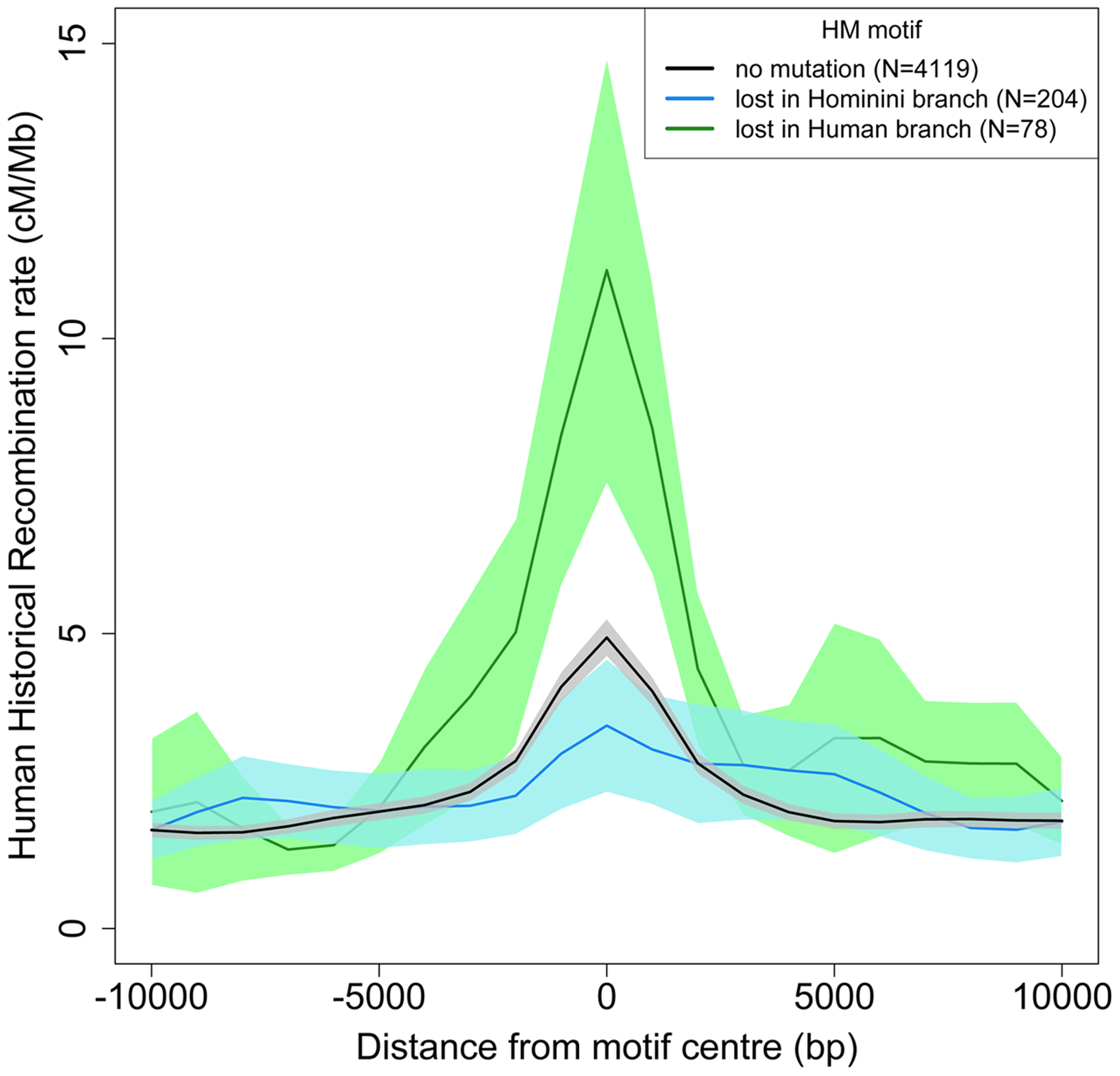Historical human recombination profiles around lost and conserved HM motifs.
