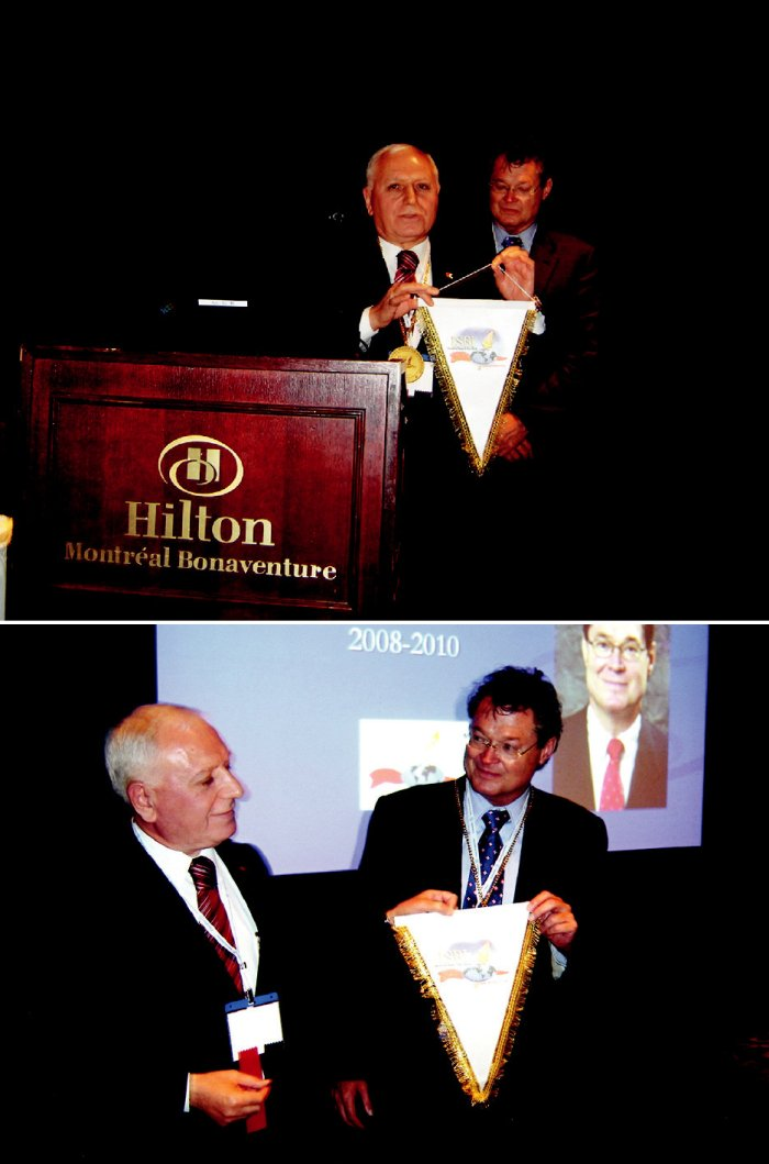 Fig. 2. Passing of Presidential Symbol to the new President, Dr. Ronald Tompkins during 14<sup>th</sup> Congress of the ISBI, in Montreal, Canada, September 10, 2008. (Left to right: Mehmet Haberal, Ronald Tompkins)