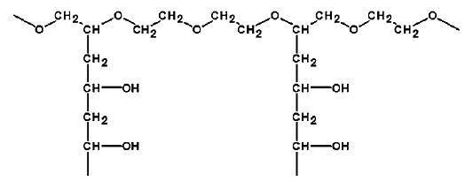 Strukturní vzorec PVA-PEG roubovaného kopolymeru (Kollicoat IR) <sup>24)</sup>