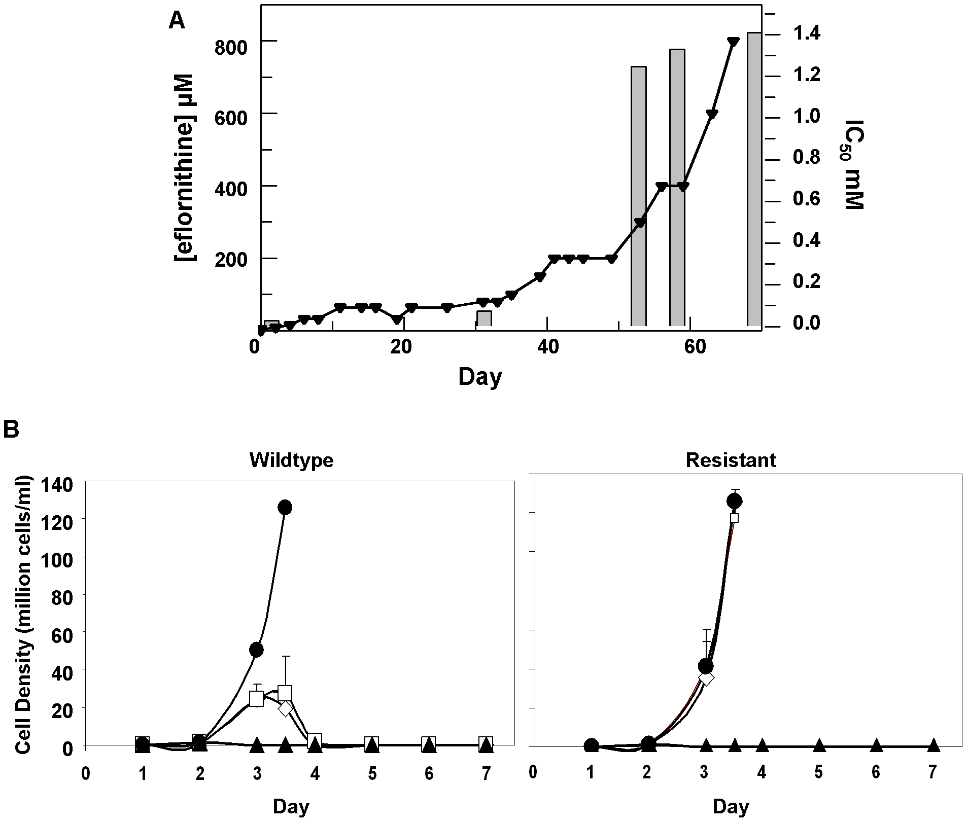 Resistance in <i>T. brucei brucei (A)</i>, Selection of eflornithine resistance in <i>Trypanosoma brucei</i>.