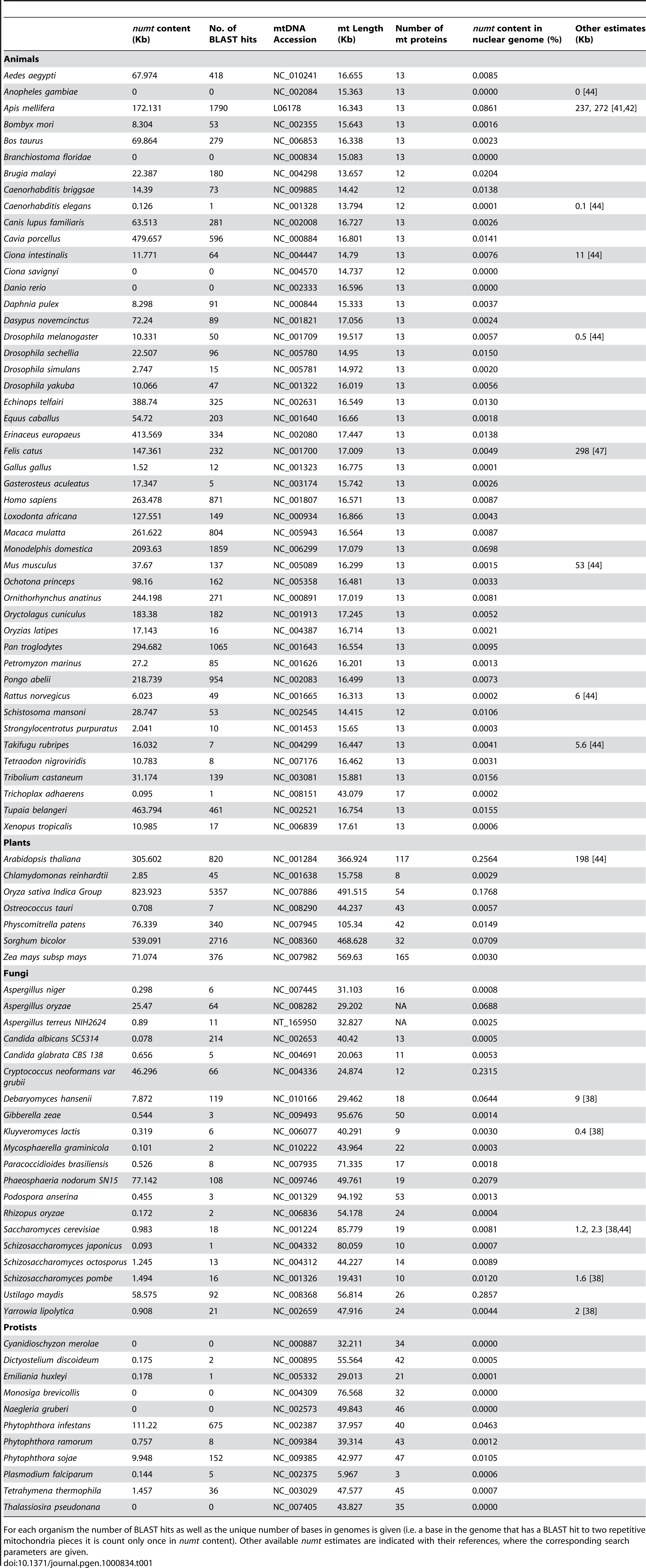 Blast analysis of 85 mitochondria against their nuclear genomes (BlastN, e-score=0.0001).