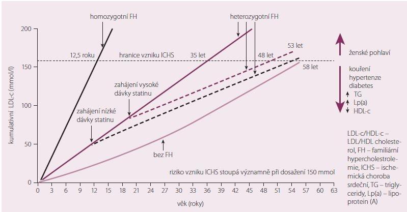 Celoživotní zátěž LDL cholesterolem. Upraveno dle [3].