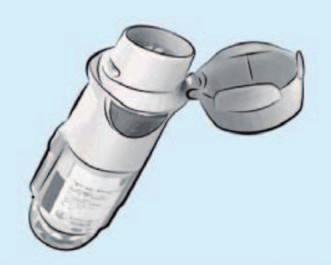 Mlžinu generující inhalační systém Respimat určený pro inhalační léčbu tiotropiem, doporučená léčebná dávka 2 vdechy jednou denně (Koblížek et al, Maxdorf 2013).