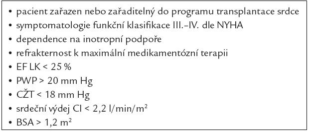 Zařazující kritéria v indikaci LVAD v přemostění k transplantaci srdce.