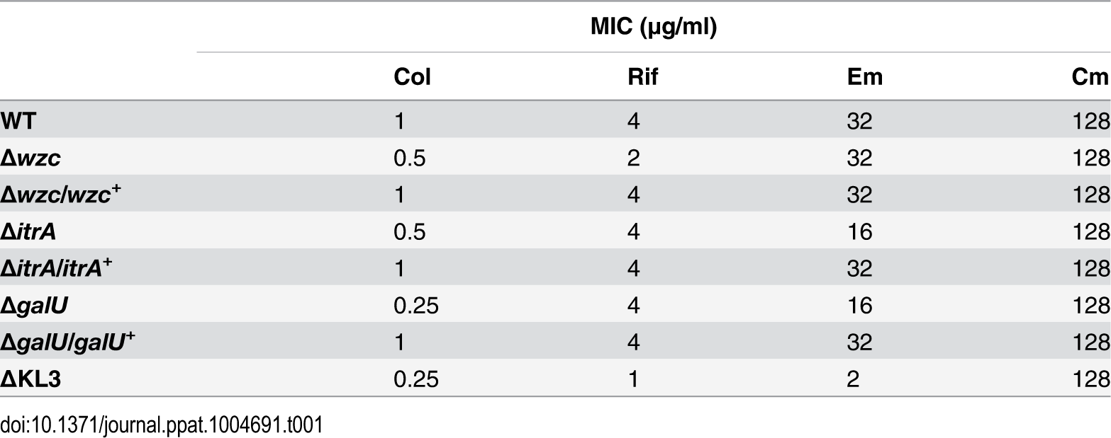 "Minimal Inhibitory Concentrations (MICs) determined from antibiotic resistance assays (<em class=""ref"">Fig. 3</em>)."
