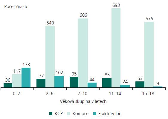 Rozložení úrazů ve věkových skupinách v období I/2000–XII/2007.