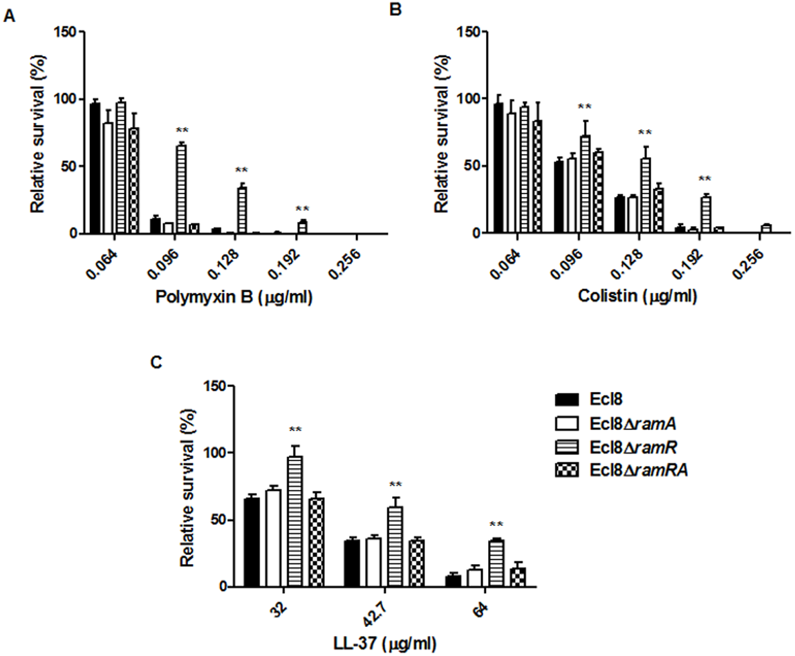 Survival assay of <i>K. pneumoniae</i> (Ecl8, Ecl8∆<i>ramA</i>, Ecl8∆<i>ramR</i>, Ecl8∆<i>ramRA</i>) to polymyxin B, colistin and the antimicrobial peptide LL-37.