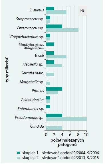 Porovnání výskytu mikrobiálních agens infikujících diabetické ulcerace/rány nemocných před vysokou amputací v obou skupinách