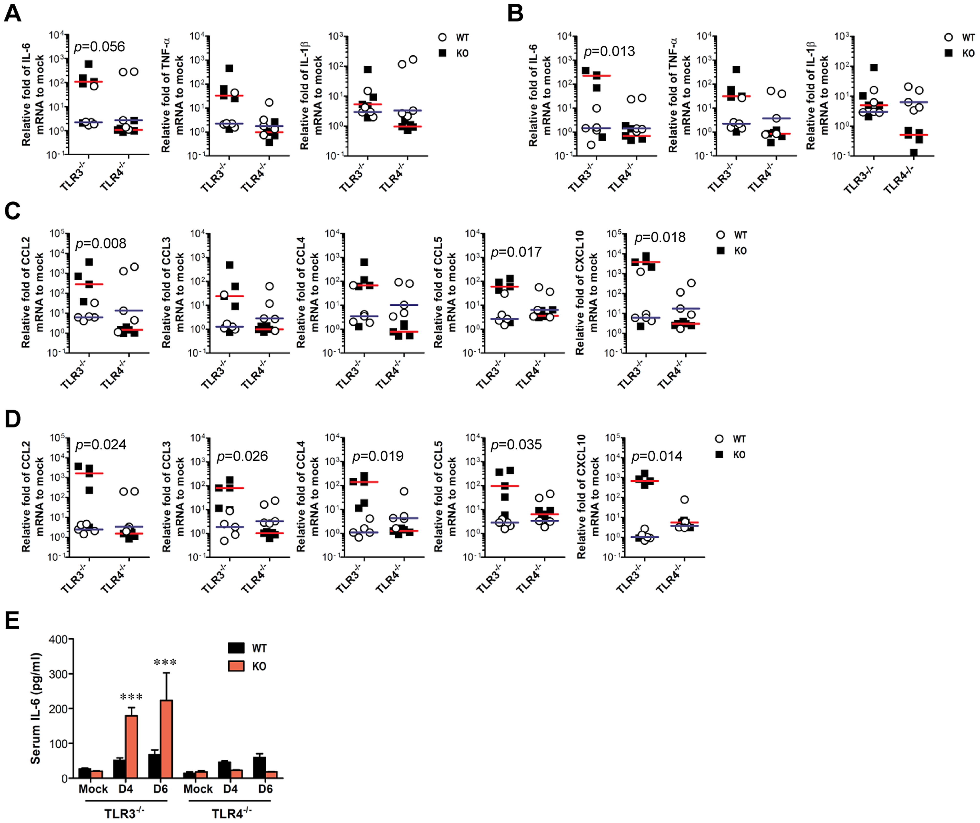 TLR3 ablation induces huge production of pro-inflammatory cytokines in inflammatory tissues.
