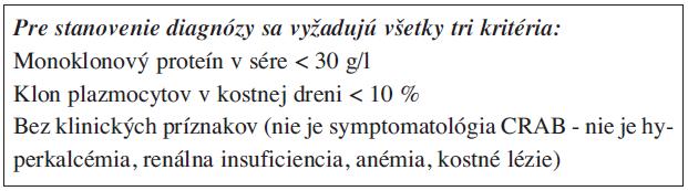 Monoklonová gamapatia nejasného významu (MGUS) (9).