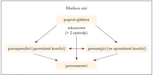 Časový průběh a doba trvání fibrilace síní. Podle [5].
