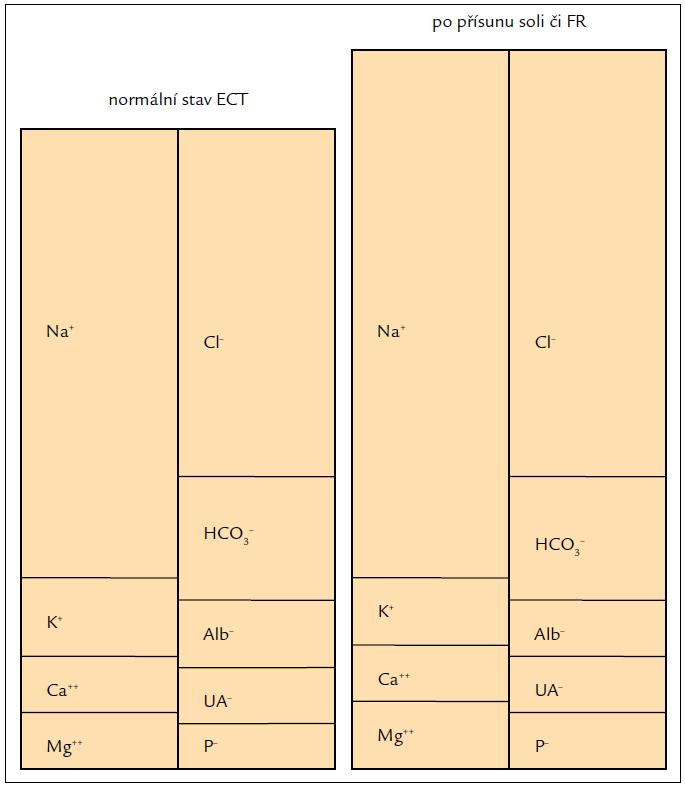 Levá část ukazuje normální složení extracelulární tekutiny.