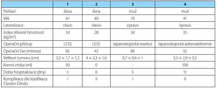Shrnutí výsledků Tab. 2. Summary of results)