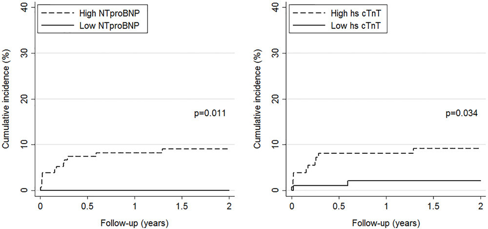 Cumulative incidence of PE-related mortality by level of NT-proBNP (left panel) and hs-cTnT (right panel). High versus low levels are based on pre-specified cut-offs (>300 pg/mL for NT-proBNP and >14 ng/L for hs-cTnT).