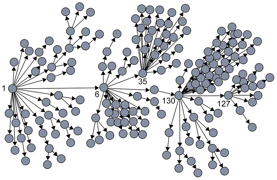 """Contact tracing of SARS in Singapore showed that most people (gray circles) transmitted the virus to very few others, while a few individuals acted as """"superspreaders,"""" infecting many more people than average."""