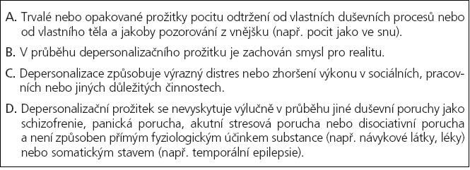 Kritéria DSM-IV pro 300.6 depersonalizační poruchu [5].