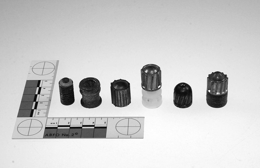 Různé typy jednotných střel laborovaných do brokových nábojů. Zleva doprava: jádro střely S-BALL Plastik (Sellier&Bellot©), střela Ideal (Stendebach©), střela S-BALL, střela SB Special Slug (obě Sellier&Bellot©), střela typu Foster (Winchester©) a klasická střela Brenneke (Brenneke©).