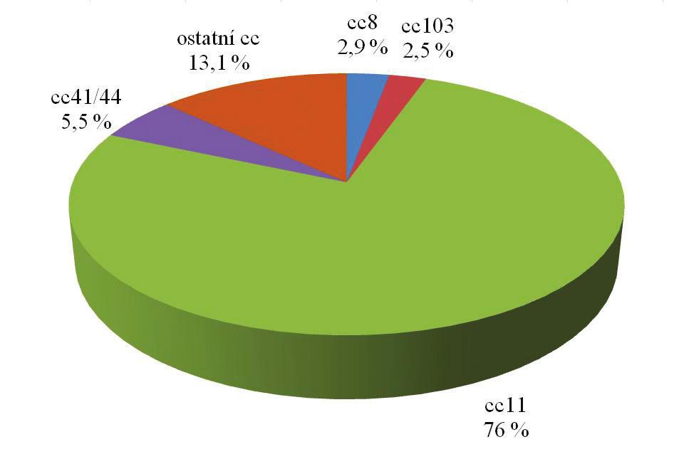 Zastoupení klonálních komplexů u izolátů N. meningitidis C z invazivního meningokokového onemocnění v České republice za období 1971–2014 (květen), n = 275 Fig. 3. Clonal complex distribution of N. meningitidis C isolates from IMD obtained in the Czech Republic in 1971–2014 (May), n = 275