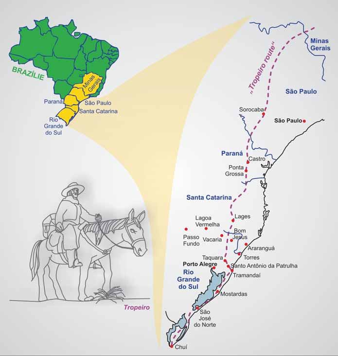 """Mapa Brazílie s vyznačenou historickou oblastí """"Tropeiro route""""."""