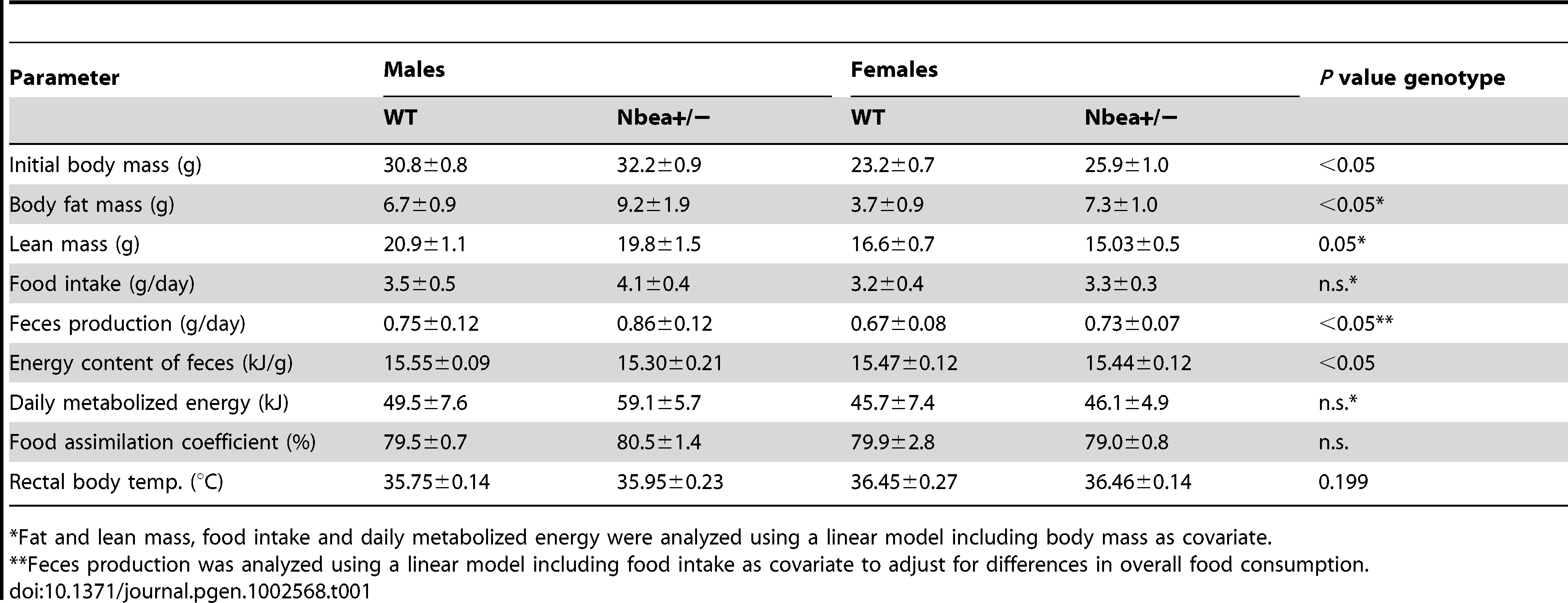 First-line phenotyping in the German Mouse Clinic: Body composition (DXA) and energy assimilation parameters of 18–20 week-old WT and <i>Nbea</i>+/− mice, fed with standard chow <i>ad libitum</i> over 5 days (n=7/group for energy metabolism, n=15/group for DXA; means±SD).