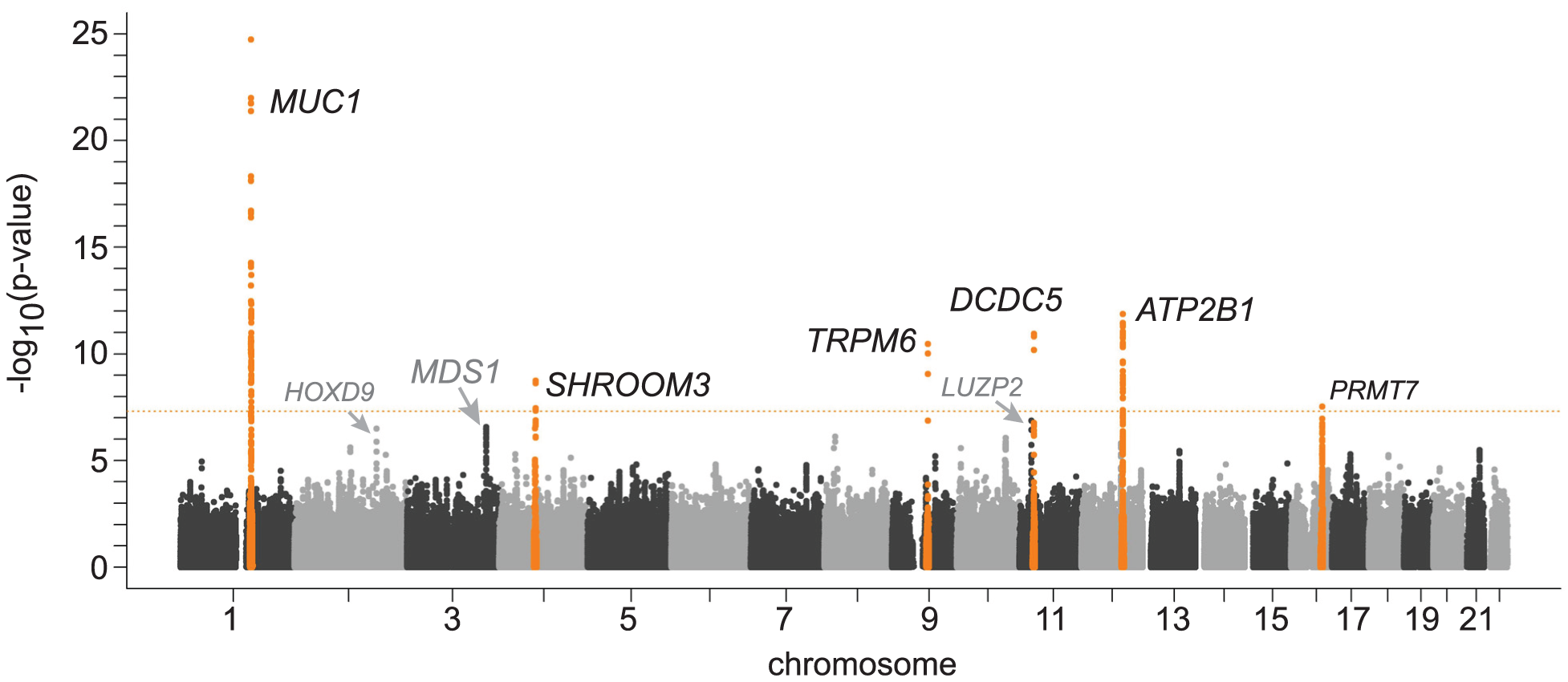 Genome-wide –log<sub>10</sub>(p-value) plot from association analyses with serum magnesium concentrations in 15,366 participants of European ancestry from the Cohorts for Heart and Aging Research in Genomic Epidemiology (CHARGE) Consortium.