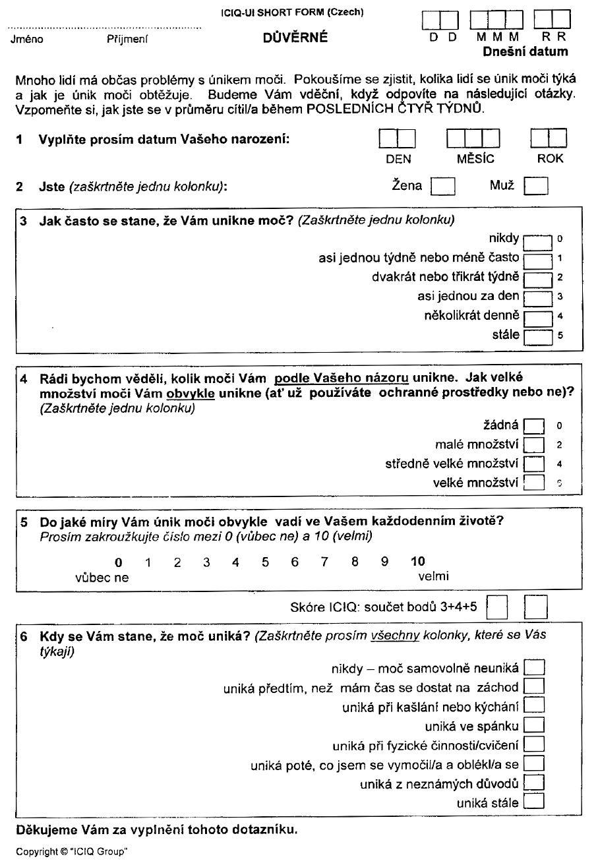 Dotazník International Consultation on Incontinence Questionnaire – Short form (ICIQ UI SF)