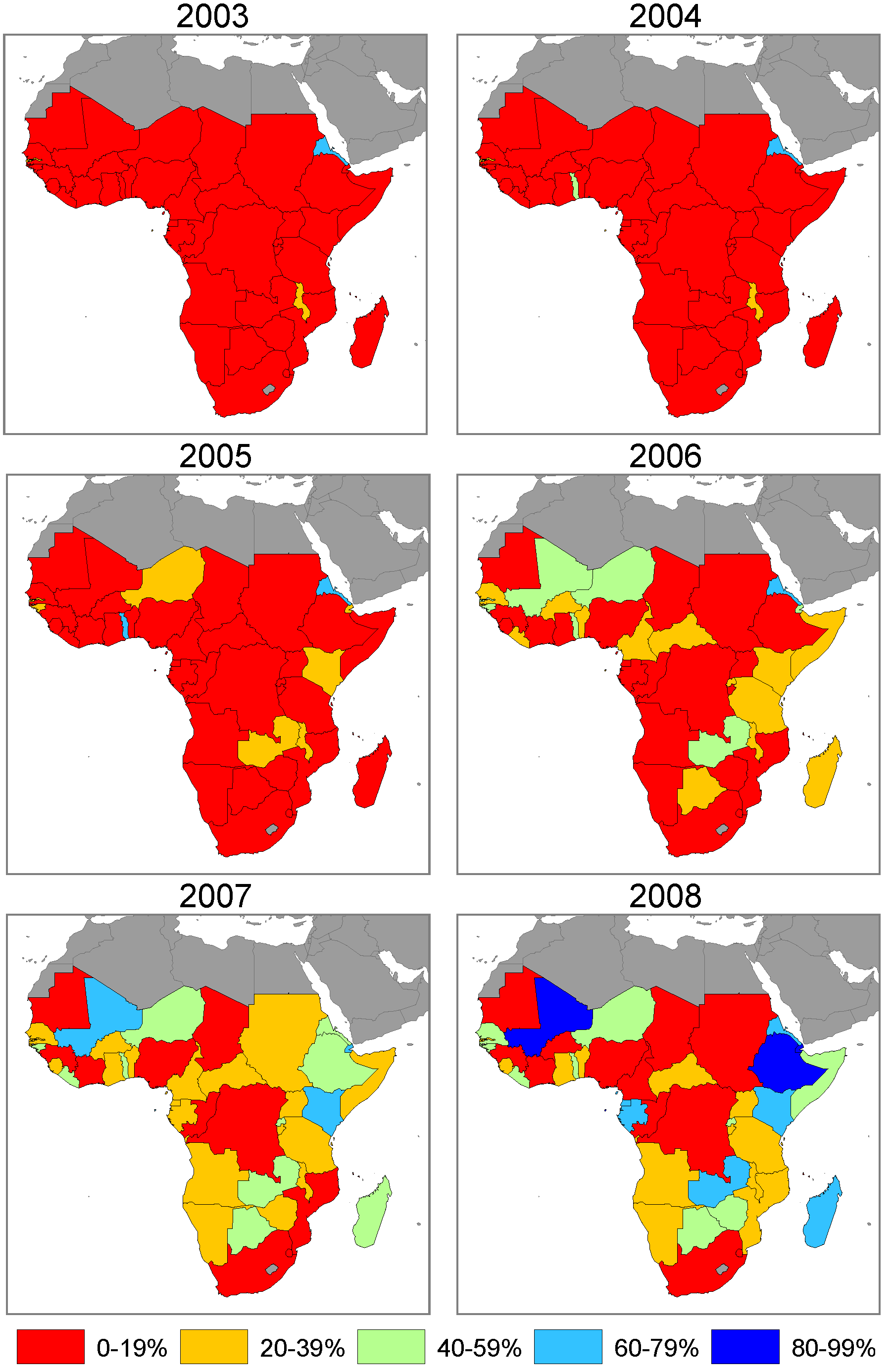 Annual maps of ITN household ownership coverage among the population at risk of malaria in 44 African countries.