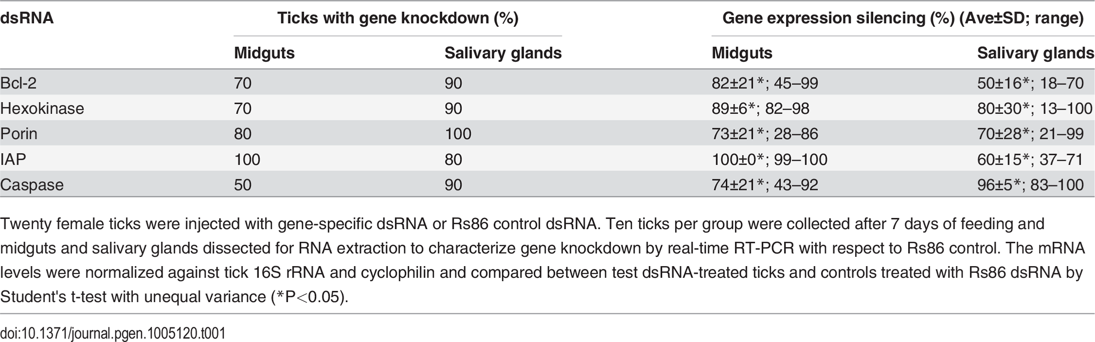 Gene knockdown in tick midguts and salivary glands.