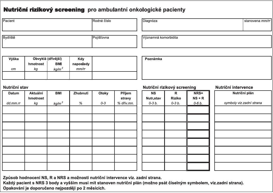 Nutriční rizikový screening NRS 2002.