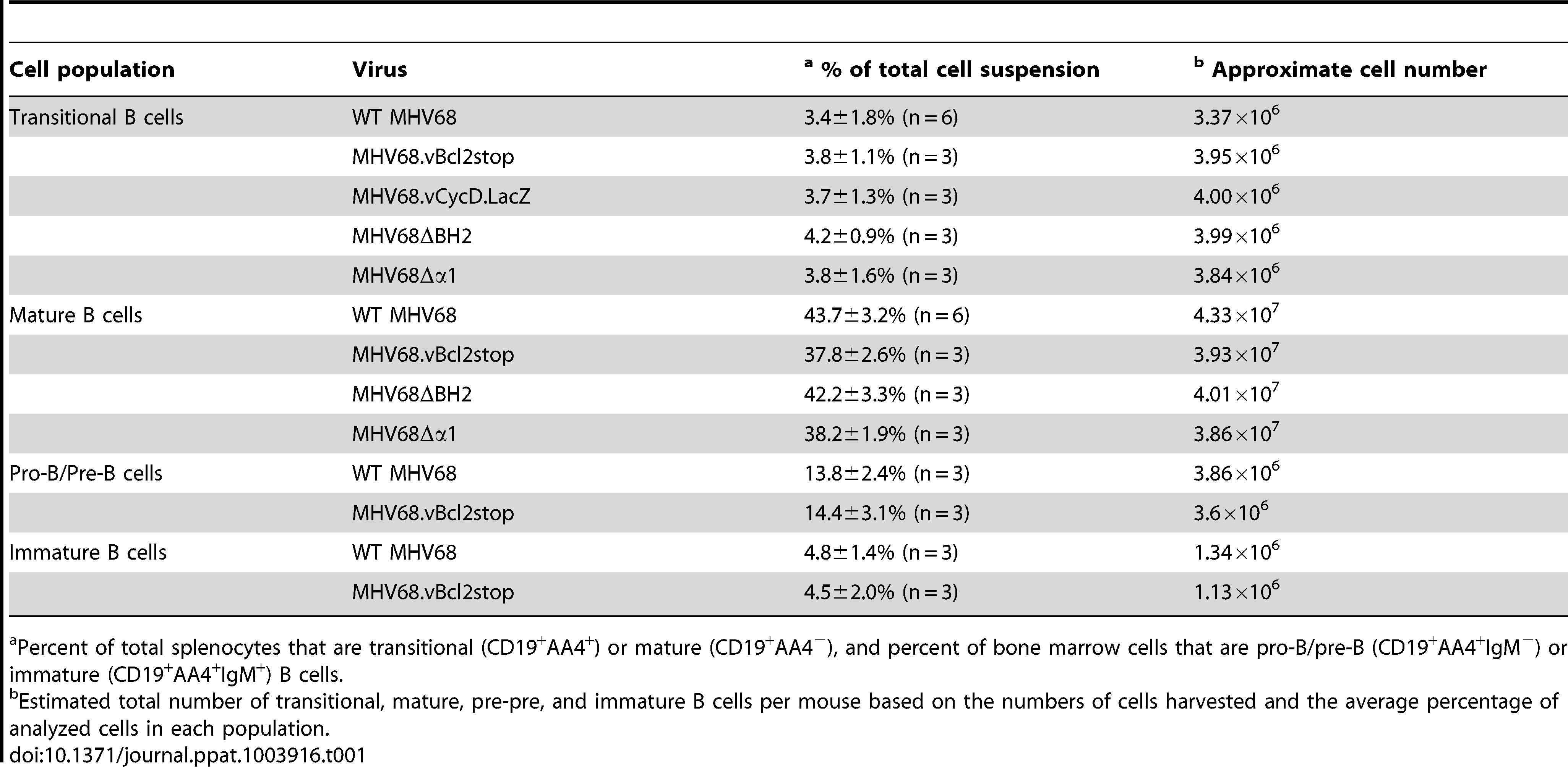 Percentages and approximate number of B cell populations following infection with wild-type and MHV68 mutant viruses.