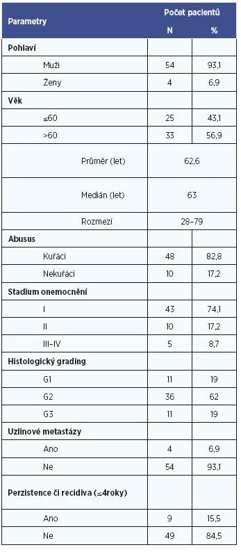 Klinicko-patologický profil studovaného souboru.