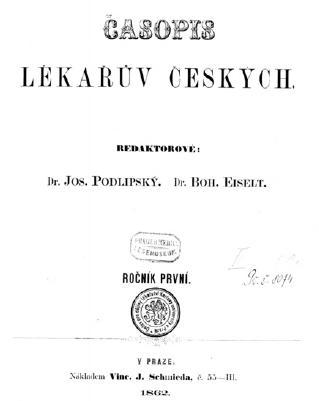 První číslo Časopisu lékařů českých z 15. ledna 1862