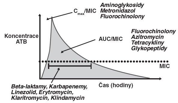 Farmakodynamické a farmakokinetické parametry antibiotik – časový průběh plasmatické koncentrace antibiotika po bolusové aplikaci