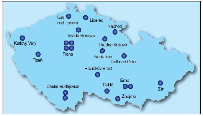 Podiatrické ambulance v ČR – 2010 (www.diab.cz)