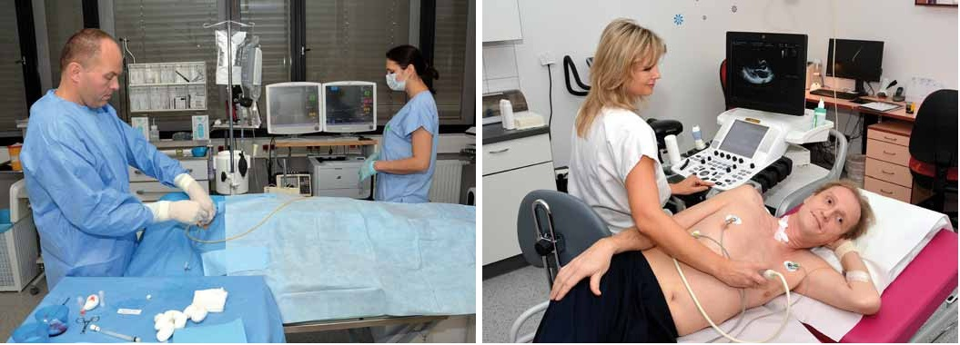 Obr. 2, 3. Praktické ukázky se uskutečnily v rámci bloku tzv. hands on. Provádění pravostranné srdeční katetrizace představil Dr. Hude a nové echokardiografické metody při vyšetřování funkce pravé komory před indikací pacienta k levostranné mechanické podpoře ukázala Dr. Ozábalová.
