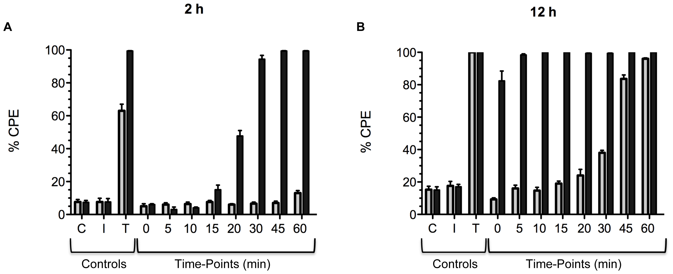 Comparison of the timing of cell entry between TcdB<sub>HV</sub> and TcdB<sub>HIST</sub>.