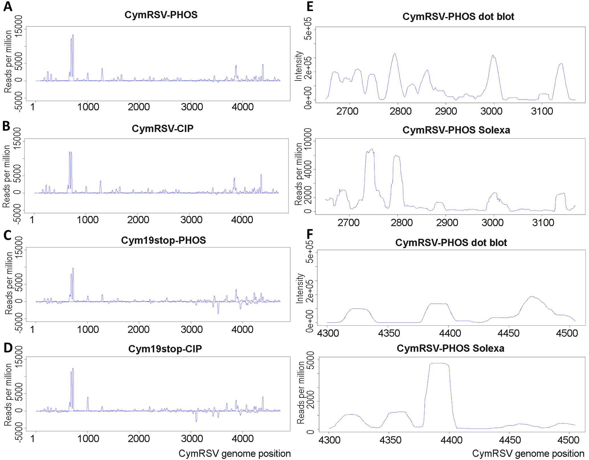 Solexa and dot plot profiles of vsiRNAs.