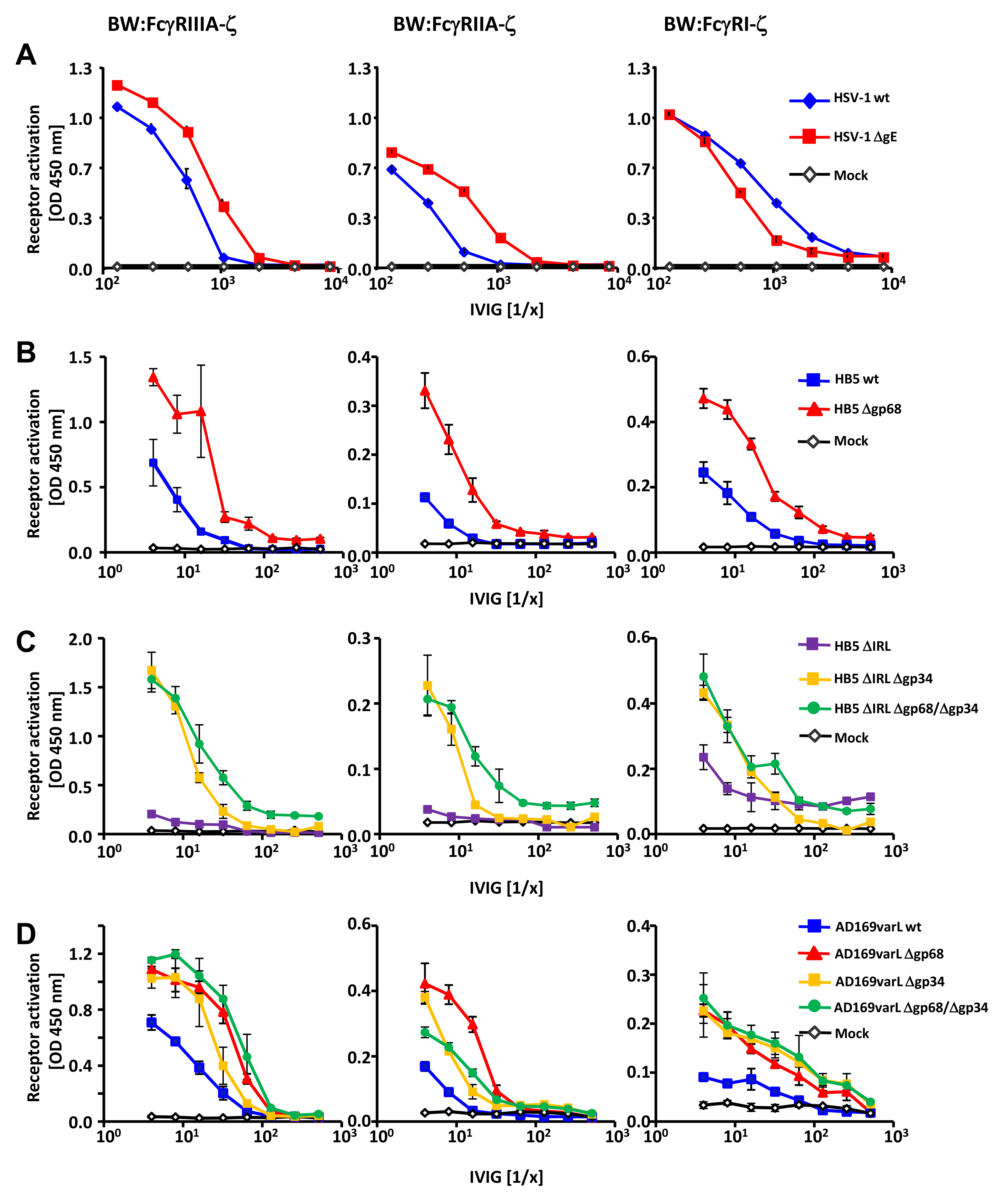 HSV-1 gE, HCMV gp68 and HCMV gp34 interfere with host FcγR activation upon opsonization of cells with polyclonal immune IgG.