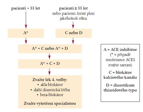 NICE 2006: Algoritmus pro léčbu hypertenze.