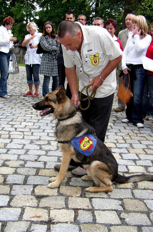 Se cvičenými psy přijela na sympozium Speciální kynologická záchranná služba Slovakia z Bratislavy Foto: Petr Nováček